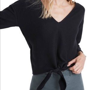 Madewell Texture & Thread Long Sleeve TieFront Top
